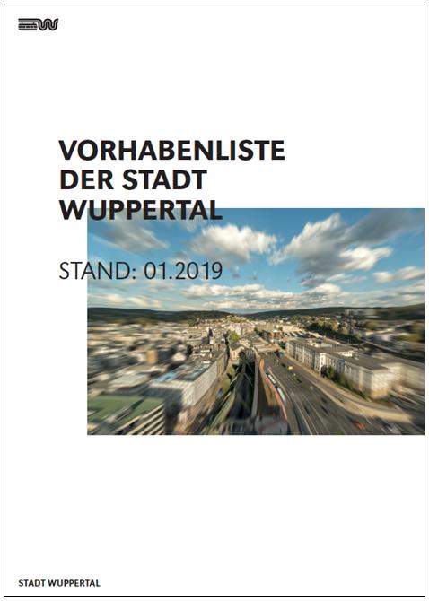 Titelbild der Druckversion der Vorhabenliste der Stadt Wuppertal