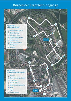 Route Stadtteilrundgänge