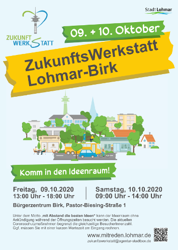 Plakat Zukunftswerkstatt Lohmar-Birk, Komm in den Ideenraum 09. + 10. Oktober 2020