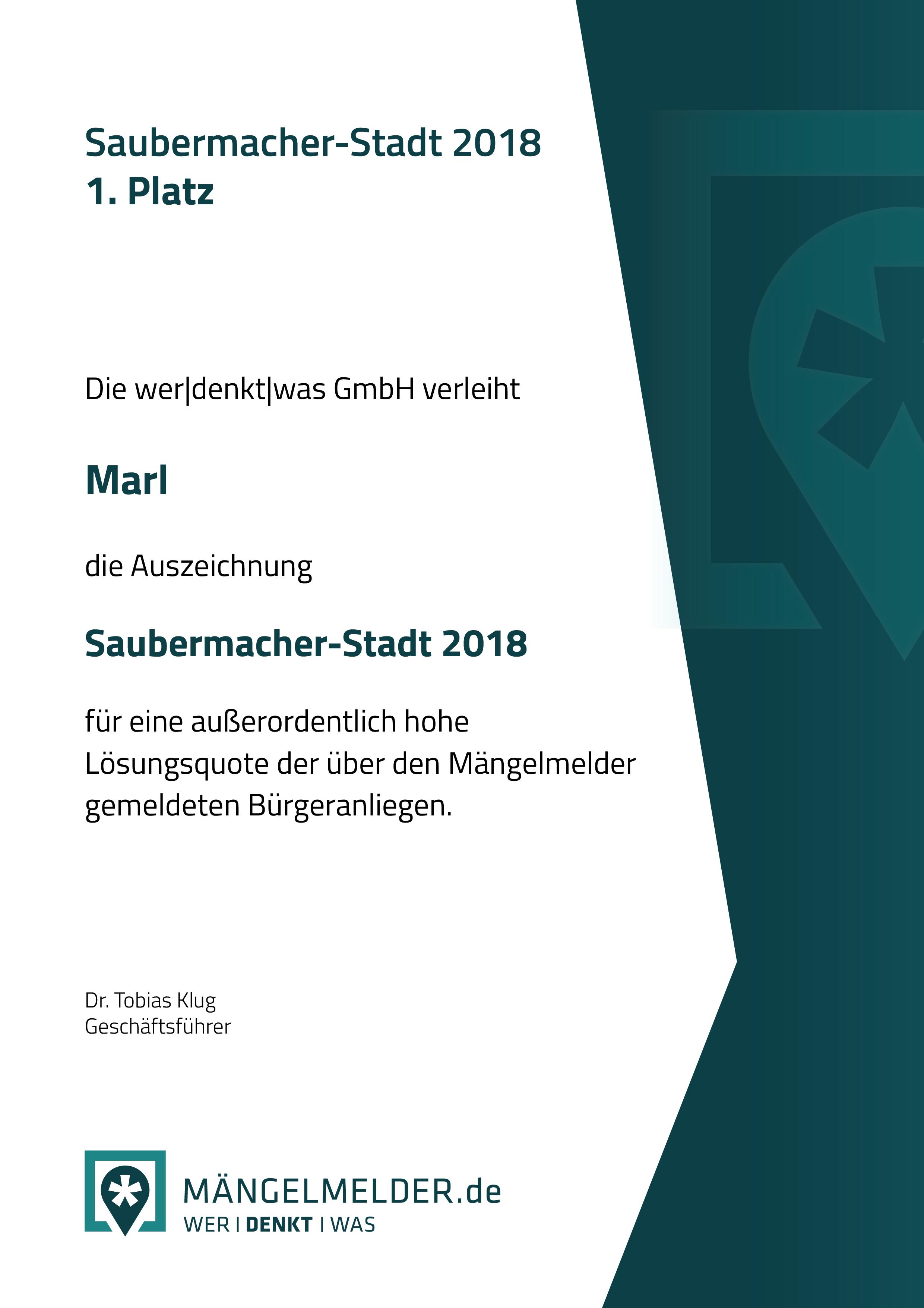Urkunde Saubermacherstadt der Stadt Marl
