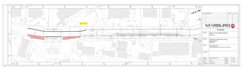 Übersichtsplan des ersten Abschnitts der Frauenbergstraße